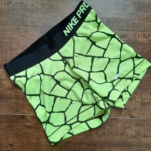 "Nike PRO Lime Green Dri-Fit 3"" Shorts Size Small"